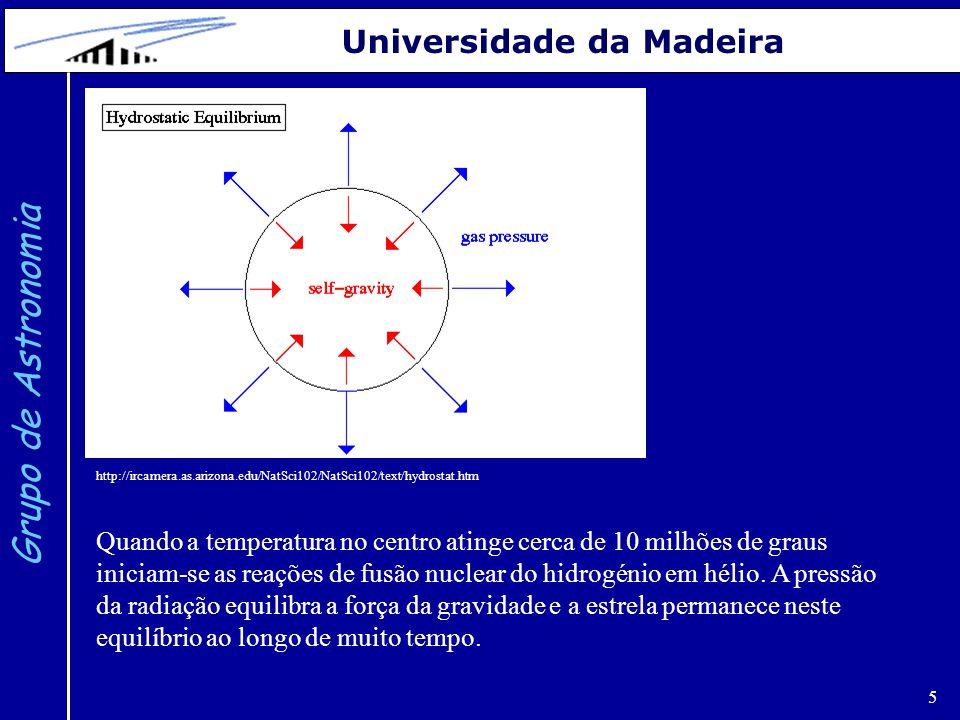5 Grupo de Astronomia Universidade da Madeira Quando a temperatura no centro atinge cerca de 10 milhões de graus iniciam-se as reações de fusão nuclea