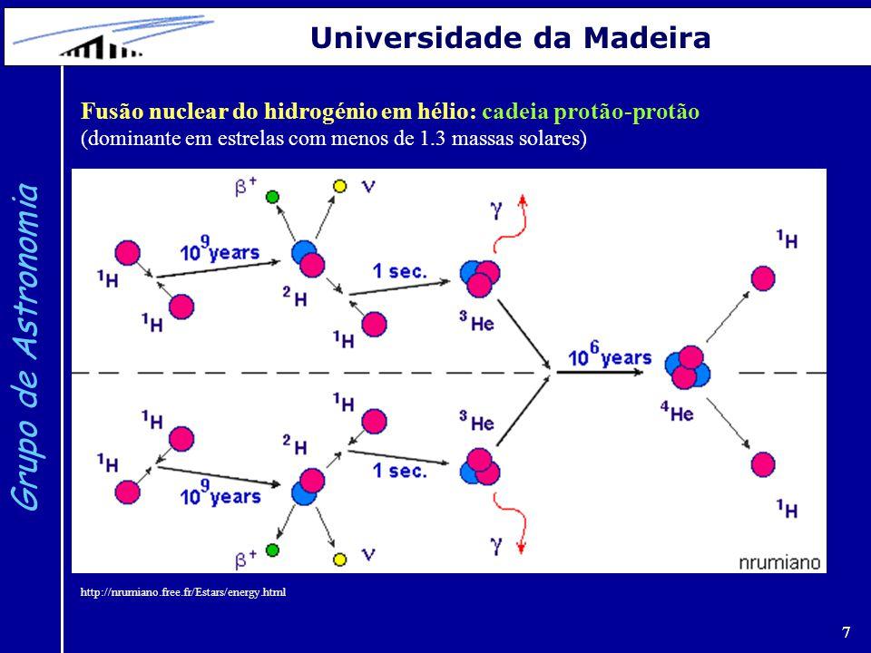 7 Grupo de Astronomia Universidade da Madeira 7 http://nrumiano.free.fr/Estars/energy.html Fusão nuclear do hidrogénio em hélio: cadeia protão-protão