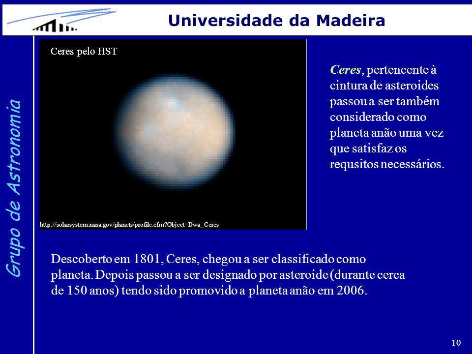 10 Grupo de Astronomia Universidade da Madeira Ceres pelo HST http://solarsystem.nasa.gov/planets/profile.cfm?Object=Dwa_Ceres Ceres, pertencente à ci
