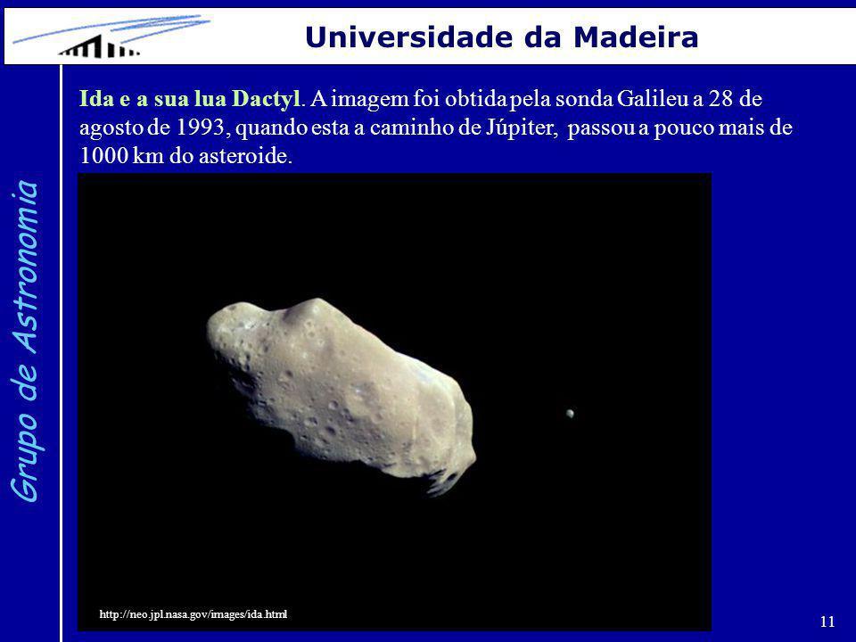 11 Grupo de Astronomia Universidade da Madeira Ida e a sua lua Dactyl. A imagem foi obtida pela sonda Galileu a 28 de agosto de 1993, quando esta a ca