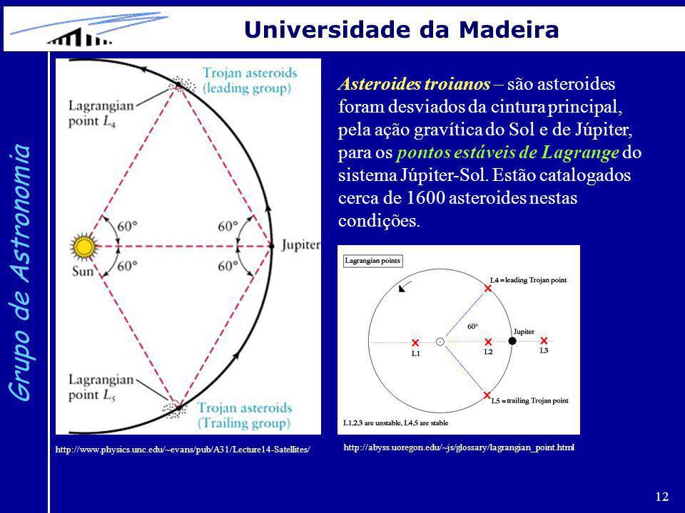 12 Grupo de Astronomia Universidade da Madeira Asteroides troianos – são asteroides foram desviados da cintura principal, pela ação gravítica do Sol e