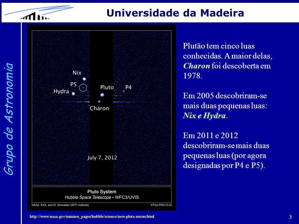 3 Grupo de Astronomia Universidade da Madeira Plutão tem cinco luas conhecidas. A maior delas, Charon foi descoberta em 1978. Em 2005 descobriram-se m