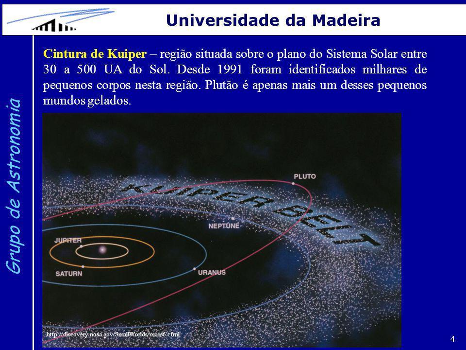 4 Grupo de Astronomia Universidade da Madeira Cintura de Kuiper – região situada sobre o plano do Sistema Solar entre 30 a 500 UA do Sol. Desde 1991 f