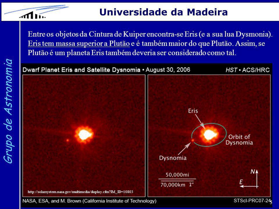 5 Grupo de Astronomia Universidade da Madeira Entre os objetos da Cintura de Kuiper encontra-se Eris (e a sua lua Dysmonia). Eris tem massa superior a
