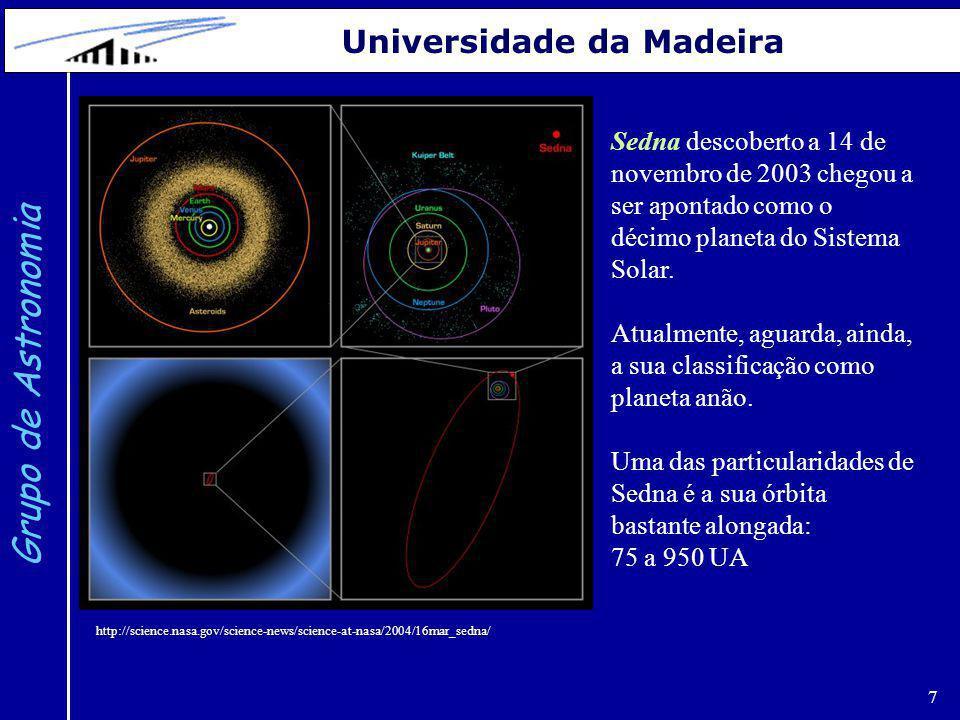 8 Grupo de Astronomia Universidade da Madeira Cintura de asteroides: situa-se entre Marte e Júpiter (2.1 UA a 3.5 UA).