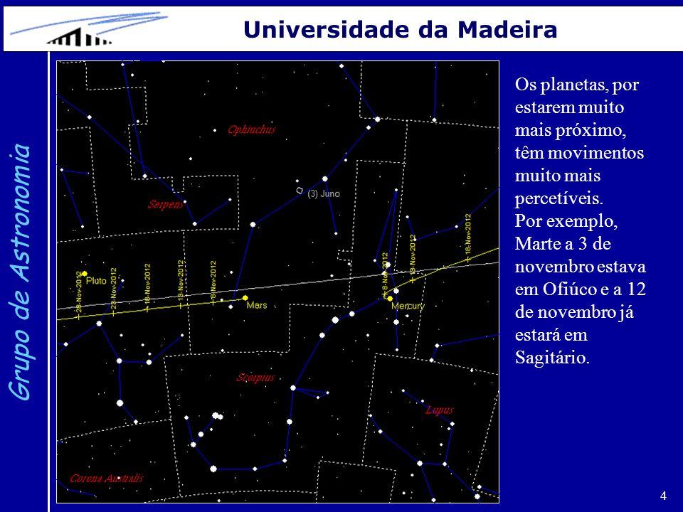 4 Grupo de Astronomia Universidade da Madeira Os planetas, por estarem muito mais próximo, têm movimentos muito mais percetíveis. Por exemplo, Marte a