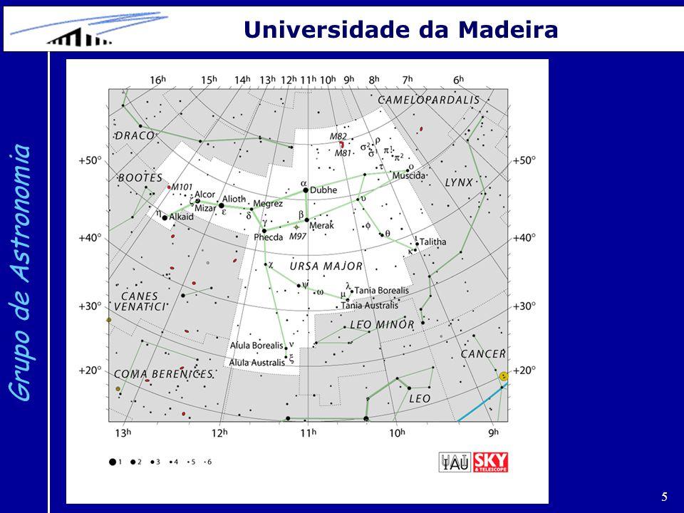 6 Grupo de Astronomia Universidade da Madeira Em geral não existe qualquer relação entre as estrelas de uma constelação.