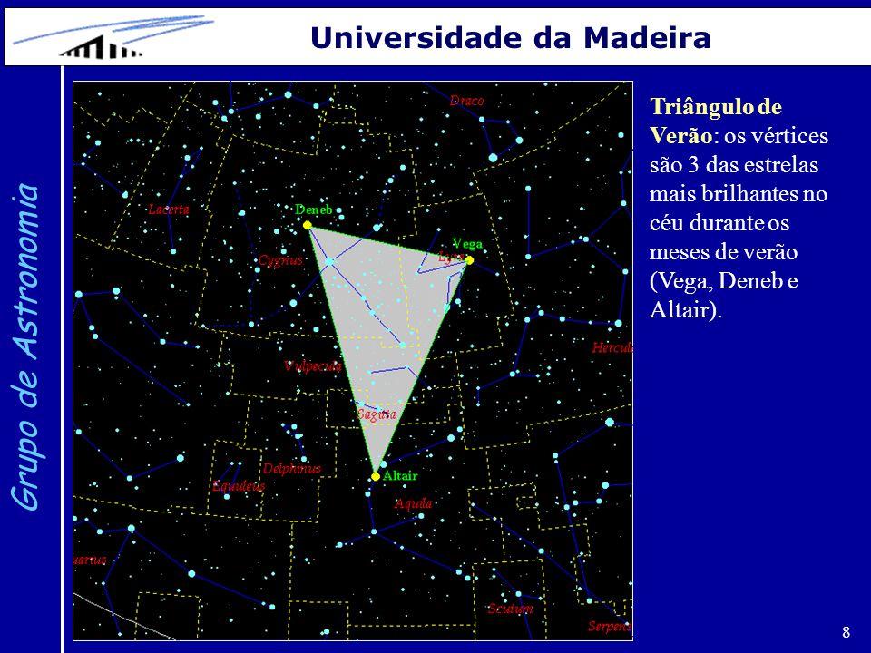 8 Grupo de Astronomia Universidade da Madeira Triângulo de Verão: os vértices são 3 das estrelas mais brilhantes no céu durante os meses de verão (Veg