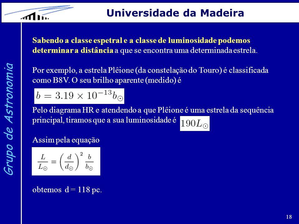 18 Grupo de Astronomia Universidade da Madeira Sabendo a classe espetral e a classe de luminosidade podemos determinar a distância a que se encontra u