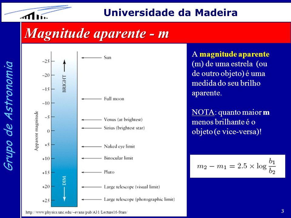 4 Grupo de Astronomia Universidade da Madeira Magnitude absoluta - M (a distância d deve vir em pc) A magnitude absoluta de uma estrela é definida como sendo a magnitude aparente que esta teria se estivesse a uma distância de 10 pc.