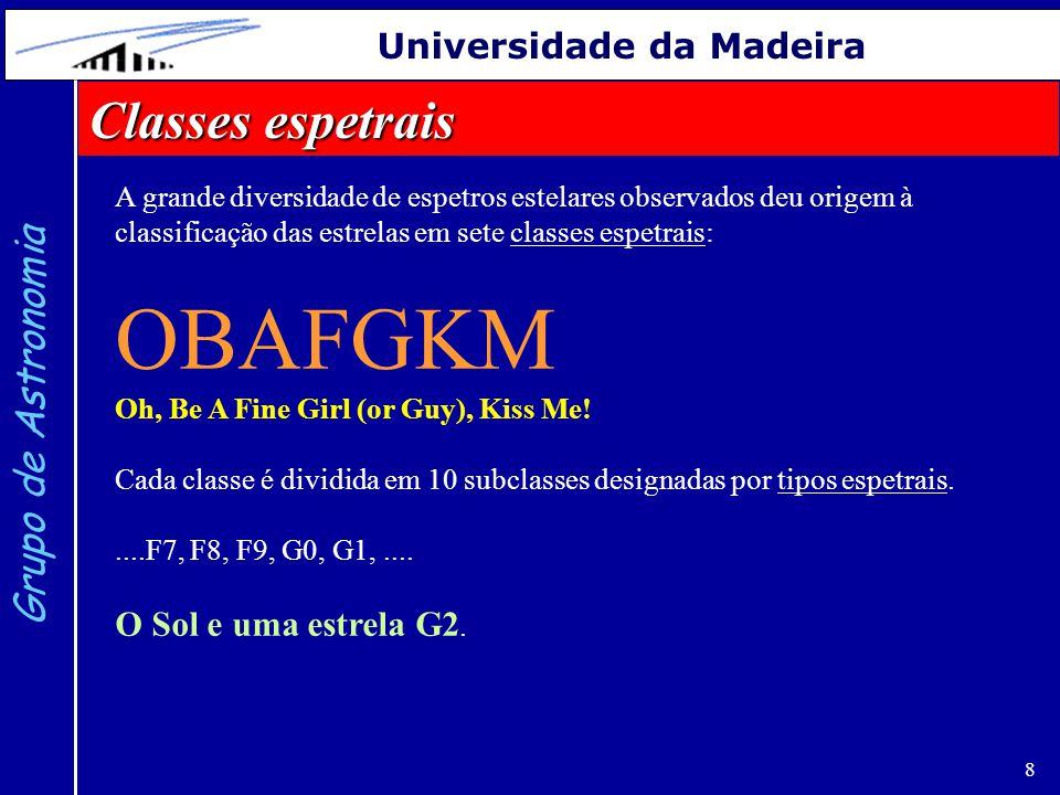 19 Grupo de Astronomia Universidade da Madeira http://www.physics.unc.edu/~evans/pub/A31/Lecture16-Stars/ Este processo de calcular distâncias designa-se por método da paralaxe espetroscópica.