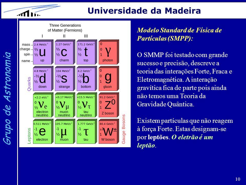 10 Grupo de Astronomia Universidade da Madeira Modelo Standard de Física de Partículas (SMPP): O SMMP foi testado com grande sucesso e precisão, descreve a teoria das interações Forte, Fraca e Eletromagnética.