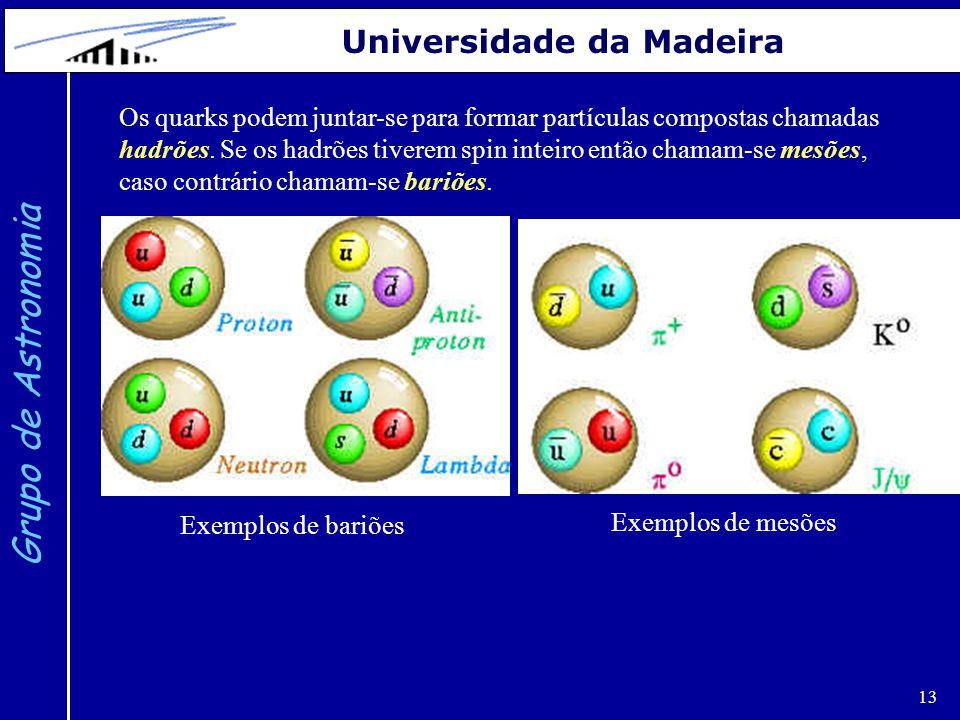13 Grupo de Astronomia Universidade da Madeira Os quarks podem juntar-se para formar partículas compostas chamadas hadrões.