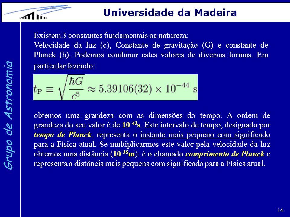 14 Grupo de Astronomia Universidade da Madeira Existem 3 constantes fundamentais na natureza: Velocidade da luz (c), Constante de gravitação (G) e con