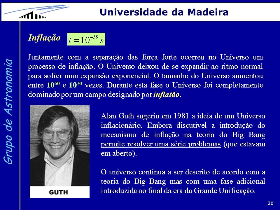 20 Grupo de Astronomia Universidade da Madeira Inflação Juntamente com a separação das força forte ocorreu no Universo um processo de inflação. O Univ