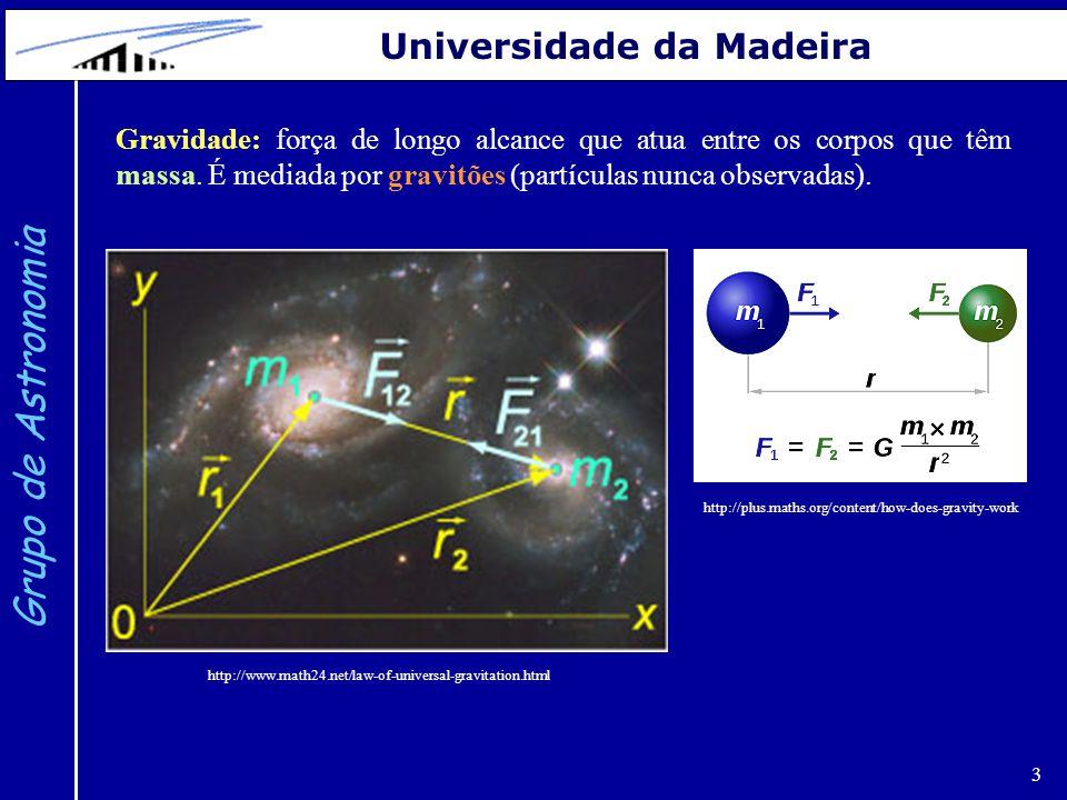 3 Grupo de Astronomia Universidade da Madeira Gravidade: força de longo alcance que atua entre os corpos que têm massa. É mediada por gravitões (partí