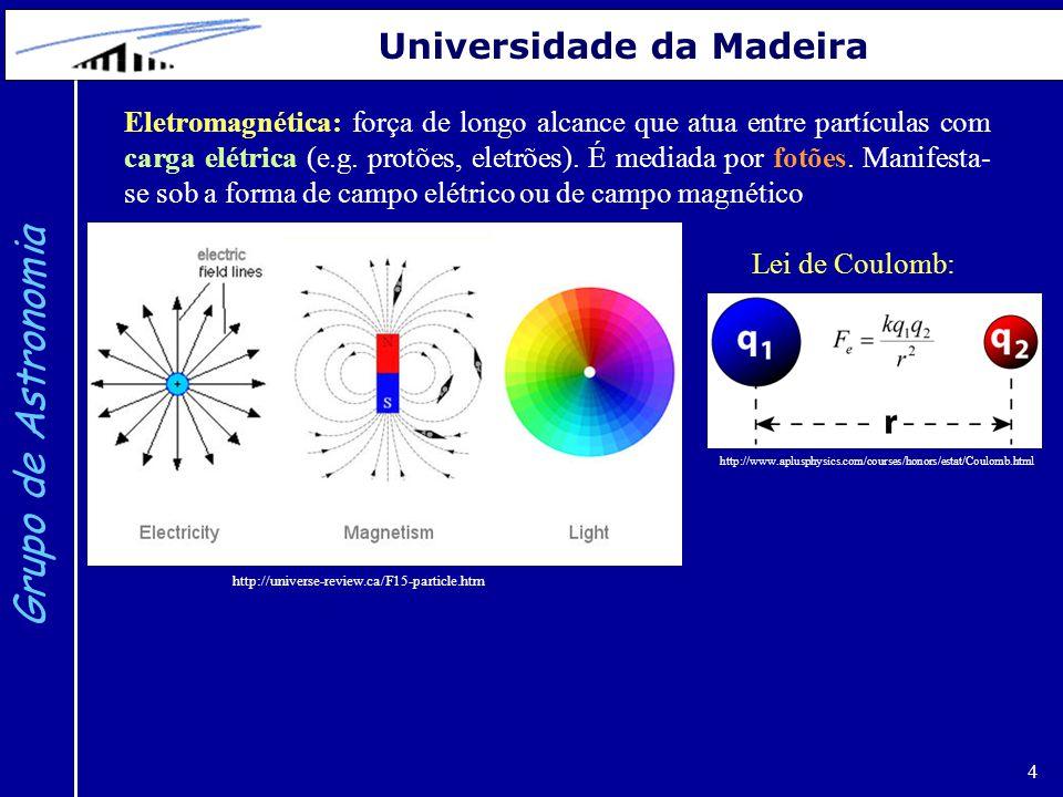 4 Grupo de Astronomia Universidade da Madeira http://universe-review.ca/F15-particle.htm Eletromagnética: força de longo alcance que atua entre partículas com carga elétrica (e.g.