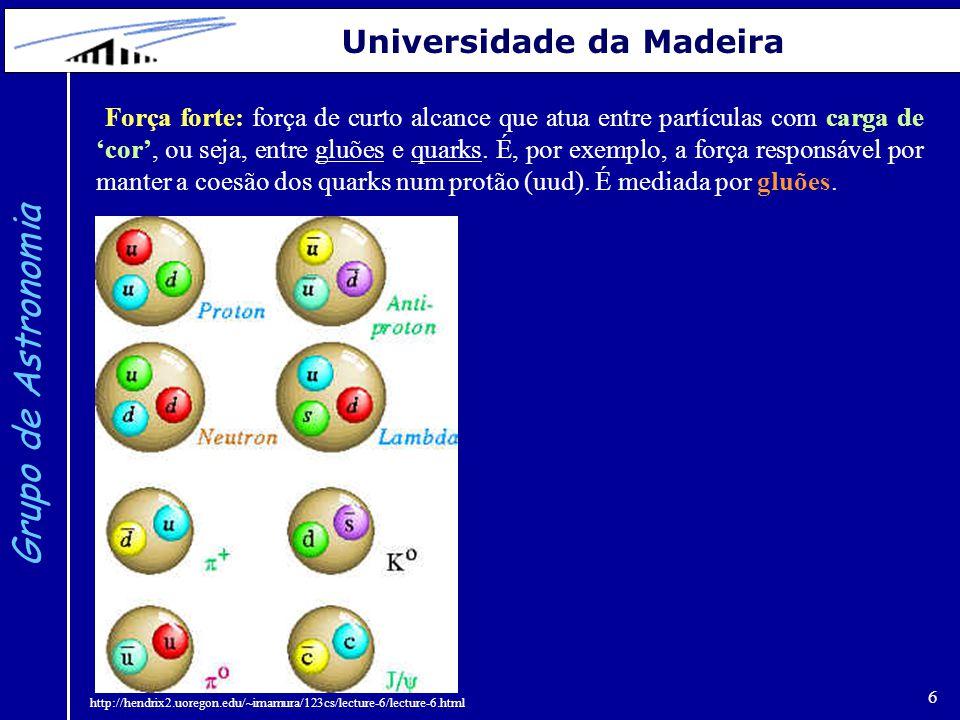 6 Grupo de Astronomia Universidade da Madeira Força forte: força de curto alcance que atua entre partículas com carga de 'cor', ou seja, entre gluões