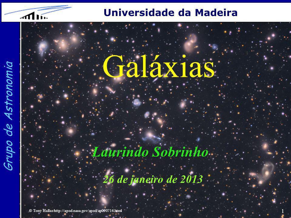 1 Grupo de Astronomia Universidade da Madeira Galáxias Laurindo Sobrinho 26 de janeiro de 2013 © Tony Hallas http://apod.nasa.gov/apod/ap090716.html