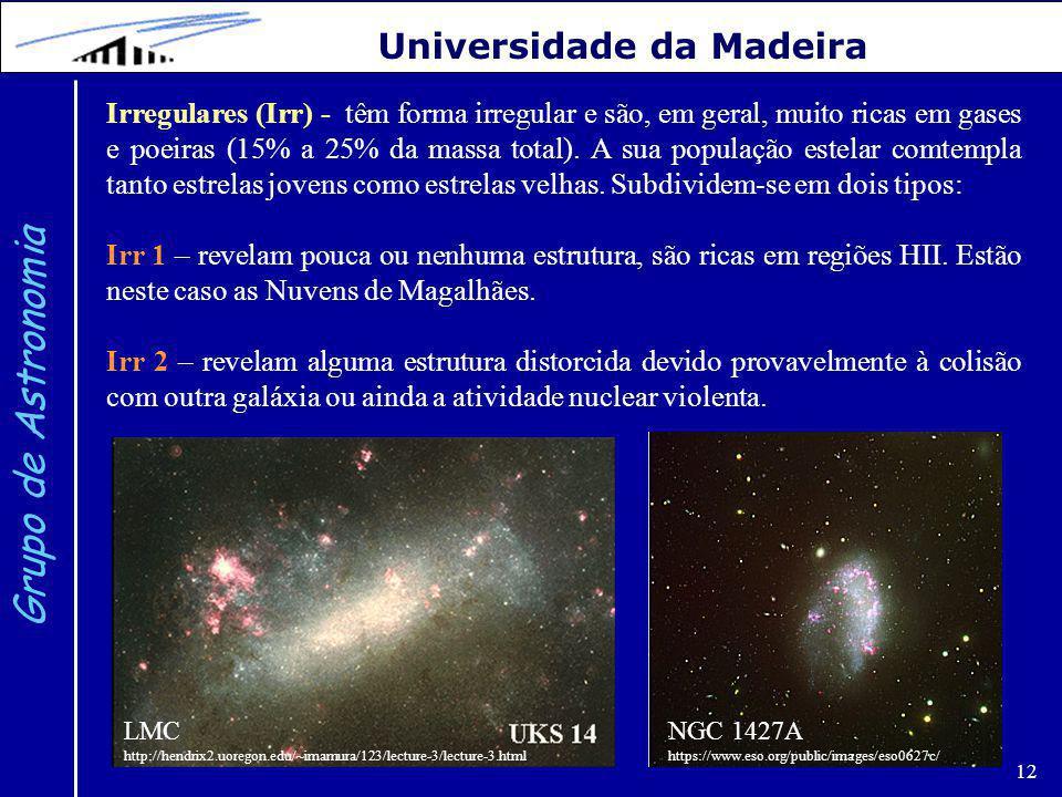12 Grupo de Astronomia Universidade da Madeira Irregulares (Irr) - têm forma irregular e são, em geral, muito ricas em gases e poeiras (15% a 25% da massa total).