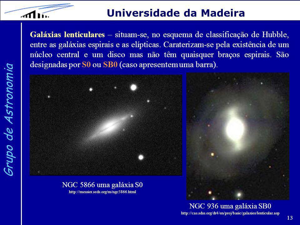 13 Grupo de Astronomia Universidade da Madeira Galáxias lenticulares – situam-se, no esquema de classificação de Hubble, entre as galáxias espirais e as elípticas.