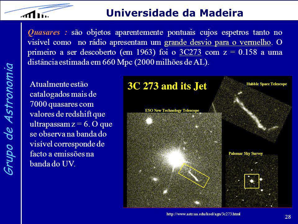 28 Grupo de Astronomia Universidade da Madeira Quasares : são objetos aparentemente pontuais cujos espetros tanto no visível como no rádio apresentam um grande desvio para o vermelho.