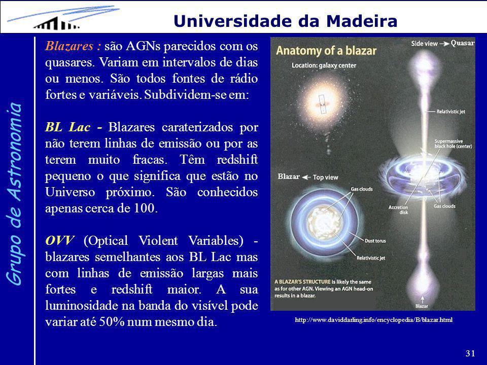 31 Grupo de Astronomia Universidade da Madeira Blazares : são AGNs parecidos com os quasares.