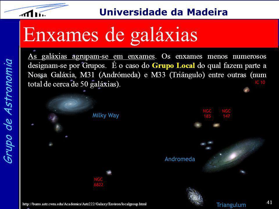 41 Grupo de Astronomia Universidade da Madeira Enxames de galáxias Grupo Local As galáxias agrupam-se em enxames.