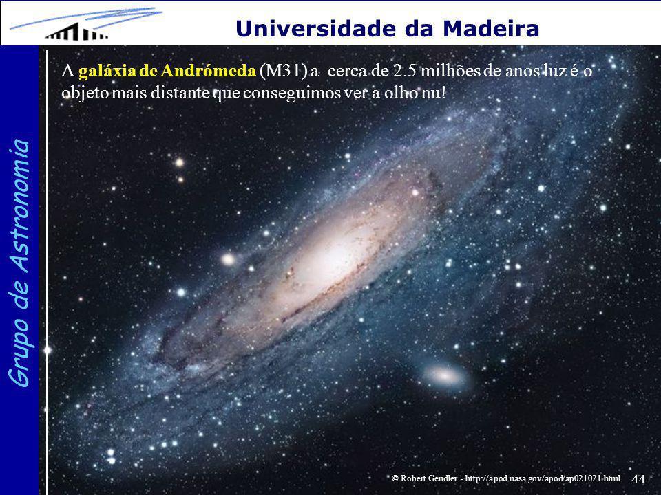 44 Grupo de Astronomia Universidade da Madeira A galáxia de Andrómeda (M31) a cerca de 2.5 milhões de anos luz é o objeto mais distante que conseguimos ver a olho nu.