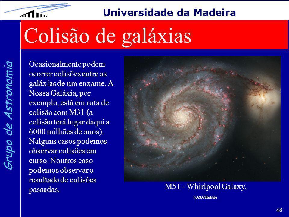 46 Grupo de Astronomia Universidade da Madeira Colisão de galáxias Ocasionalmente podem ocorrer colisões entre as galáxias de um enxame.