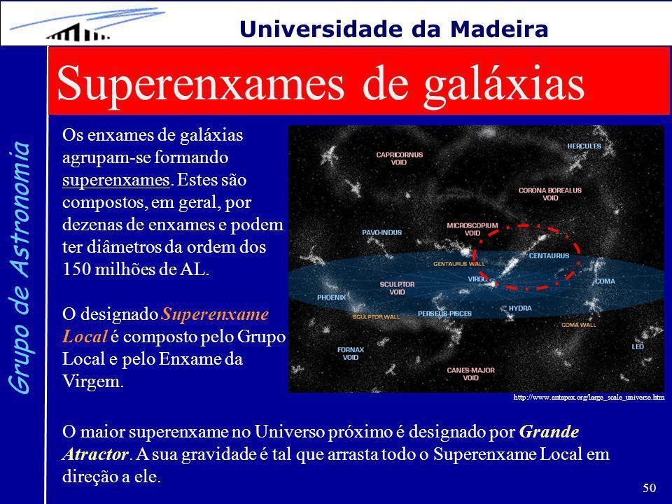 50 Grupo de Astronomia Universidade da Madeira Superenxames de galáxias Os enxames de galáxias agrupam-se formando superenxames.