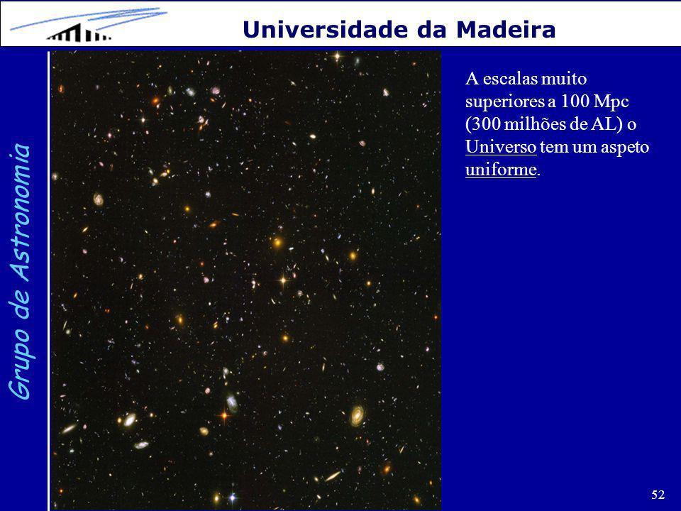 52 Grupo de Astronomia Universidade da Madeira A escalas muito superiores a 100 Mpc (300 milhões de AL) o Universo tem um aspeto uniforme.