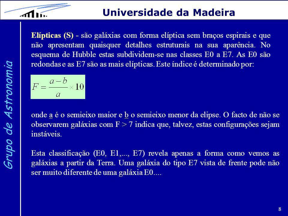 8 Grupo de Astronomia Universidade da Madeira Elípticas (S) - são galáxias com forma elíptica sem braços espirais e que não apresentam quaisquer detalhes estruturais na sua aparência.