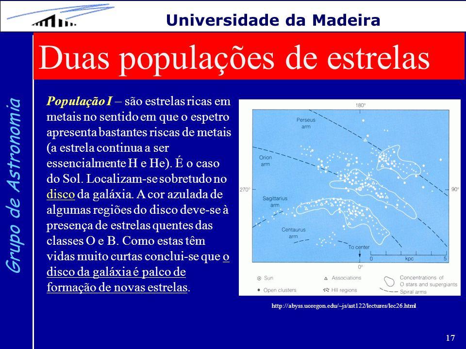 17 Grupo de Astronomia Universidade da Madeira Duas populações de estrelas População I – são estrelas ricas em metais no sentido em que o espetro apre