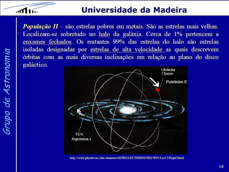 18 Grupo de Astronomia Universidade da Madeira População II – são estrelas pobres em metais. São as estrelas mais velhas. Localizam-se sobretudo no ha