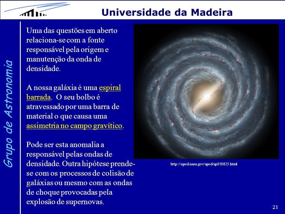21 Grupo de Astronomia Universidade da Madeira Uma das questões em aberto relaciona-se com a fonte responsável pela origem e manutenção da onda de den