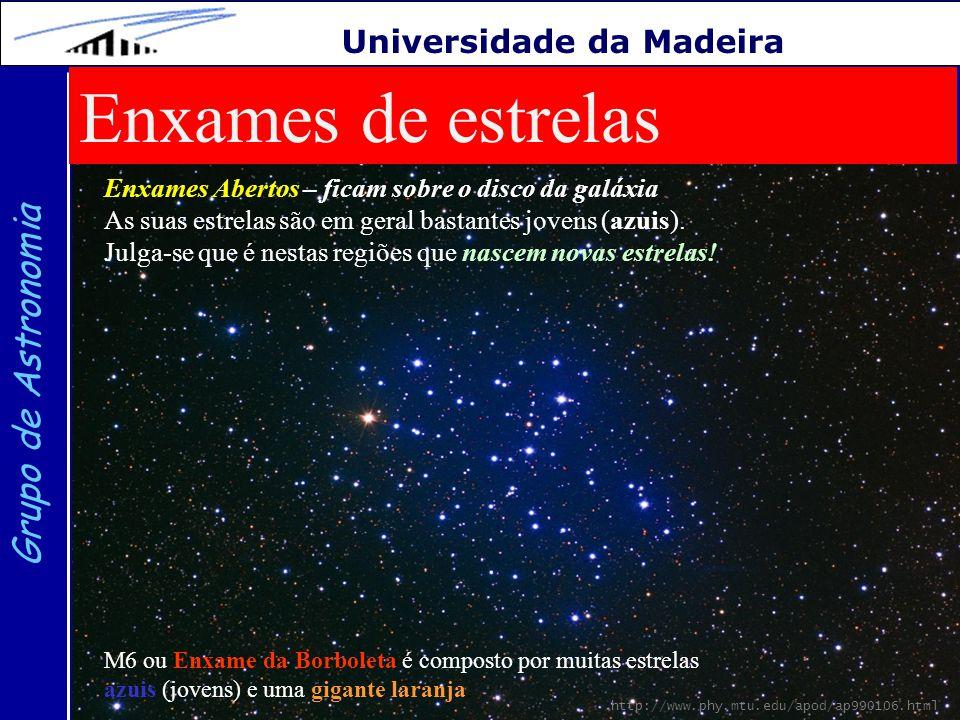 25 Grupo de Astronomia Universidade da Madeira Enxames de estrelas Enxames Abertos – ficam sobre o disco da galáxia As suas estrelas são em geral bast