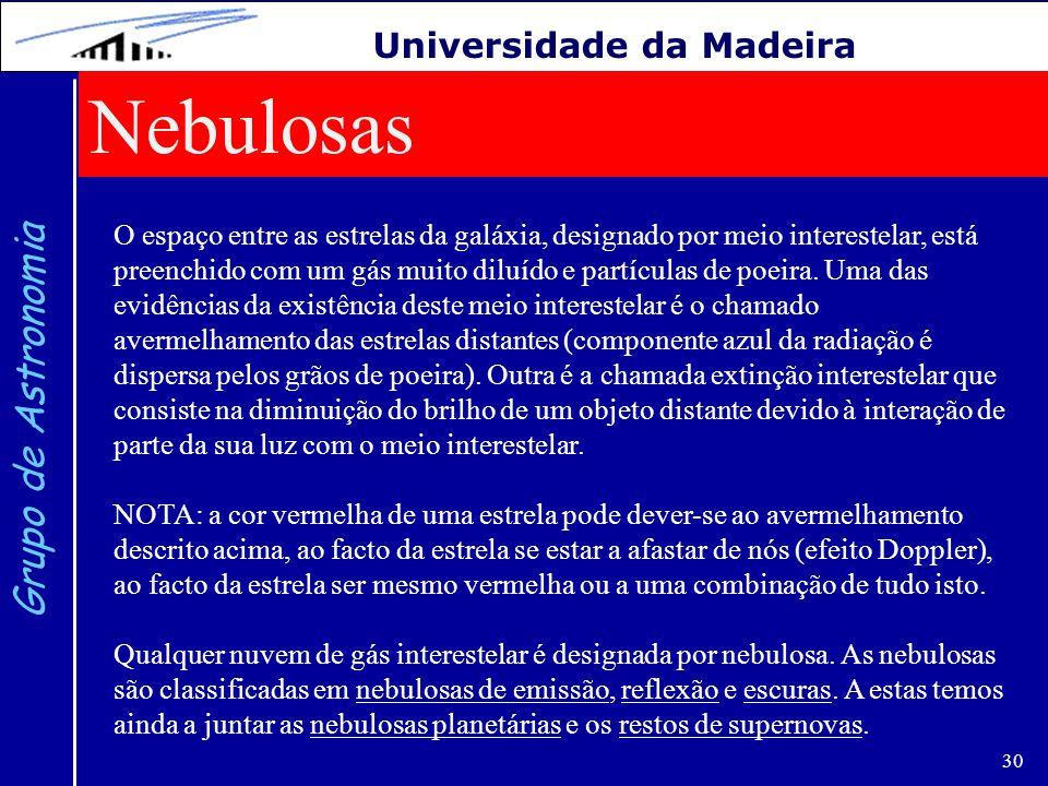 30 Grupo de Astronomia Universidade da Madeira Nebulosas O espaço entre as estrelas da galáxia, designado por meio interestelar, está preenchido com u