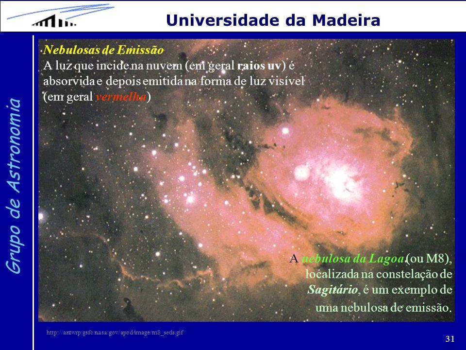 31 Grupo de Astronomia Universidade da Madeira Nebulosas de Emissão A luz que incide na nuvem (em geral raios uv) é absorvida e depois emitida na form