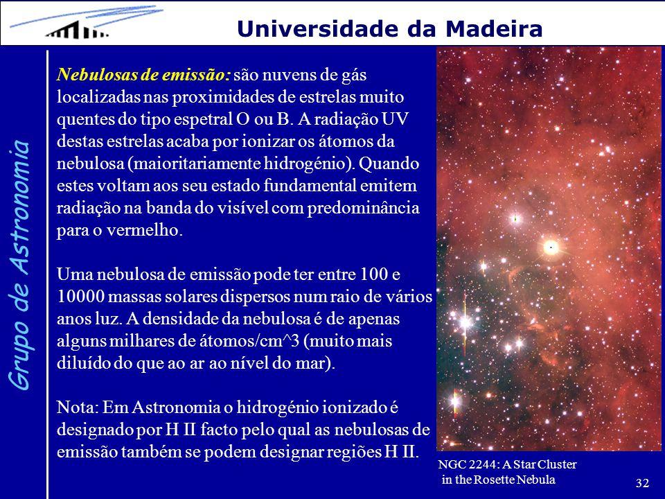 32 Grupo de Astronomia Universidade da Madeira Nebulosas de emissão: são nuvens de gás localizadas nas proximidades de estrelas muito quentes do tipo