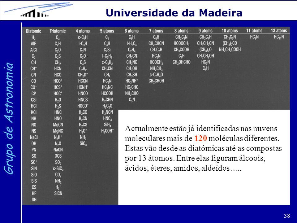 38 Grupo de Astronomia Universidade da Madeira Actualmente estão já identificadas nas nuvens moleculares mais de 120 moléculas diferentes. Estas vão d