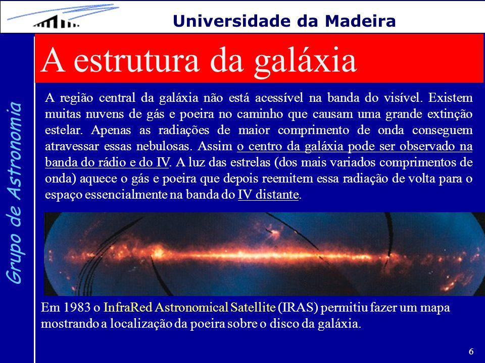 6 Grupo de Astronomia Universidade da Madeira A estrutura da galáxia A região central da galáxia não está acessível na banda do visível. Existem muita