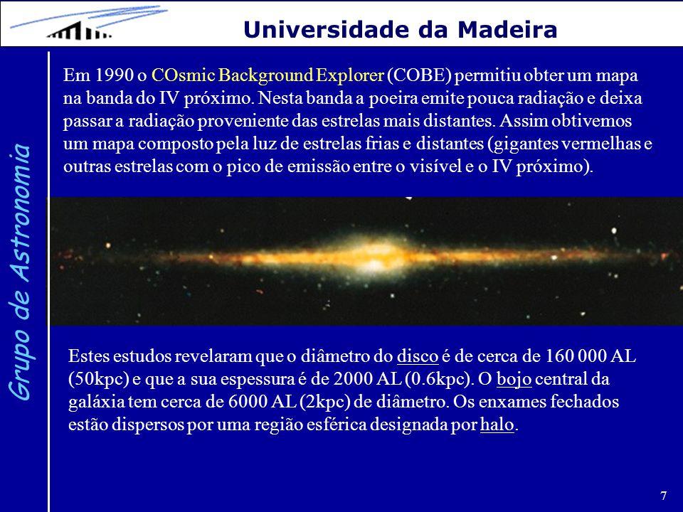 7 Grupo de Astronomia Universidade da Madeira Em 1990 o COsmic Background Explorer (COBE) permitiu obter um mapa na banda do IV próximo. Nesta banda a
