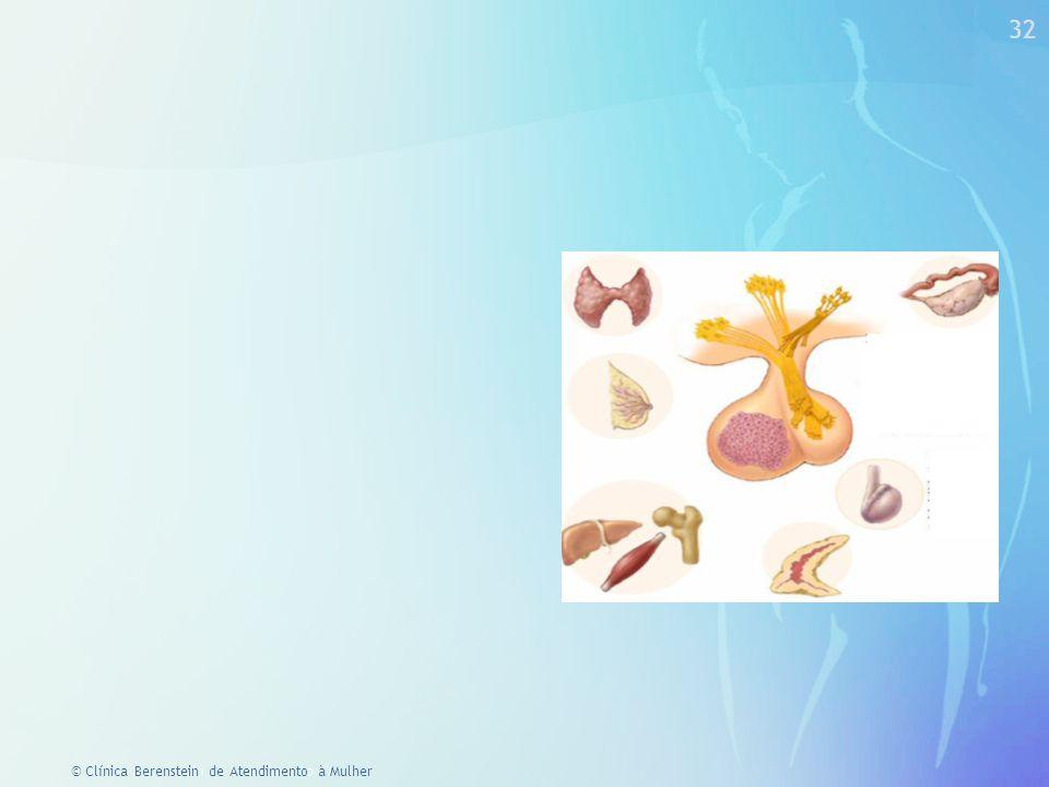 © Clínica Berenstein de Atendimento à Mulher Ciclo menstrual e psiquismo ESTROGENOS PROGESTAGENOS Tendência psico-ativa extrovertida competitiva caçadora Tendência passivo receptora e retentora cooperadora coletora ANDROGENOS