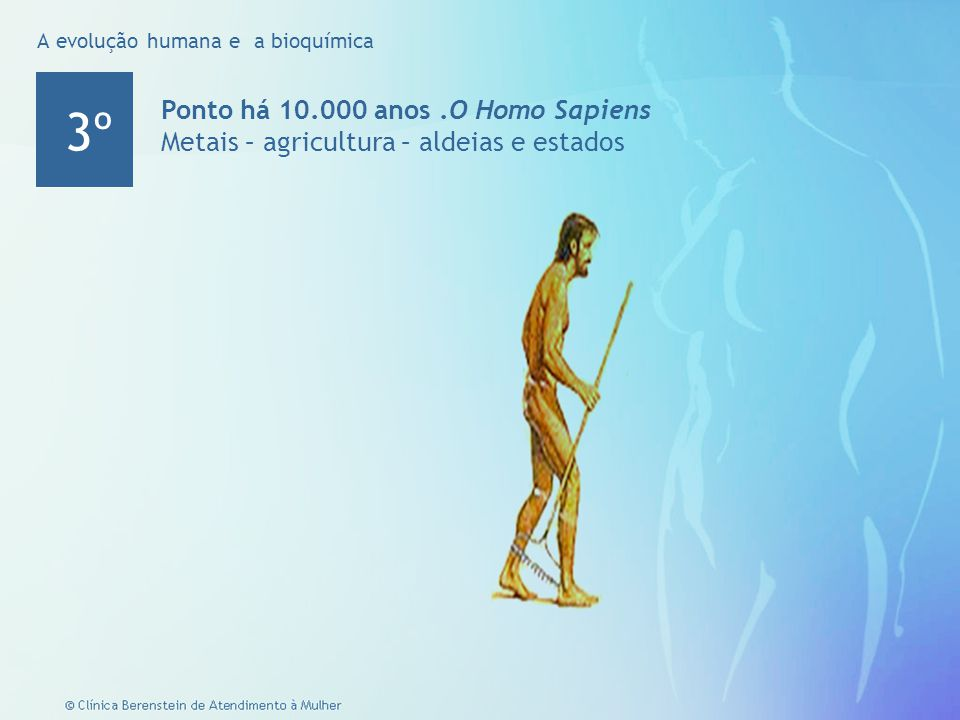 5 © Clínica Berenstein de Atendimento à Mulher Ponto há 10.000 anos.O Homo Sapiens Metais – agricultura – aldeias e estados 3º A evolução humana e a bioquímica