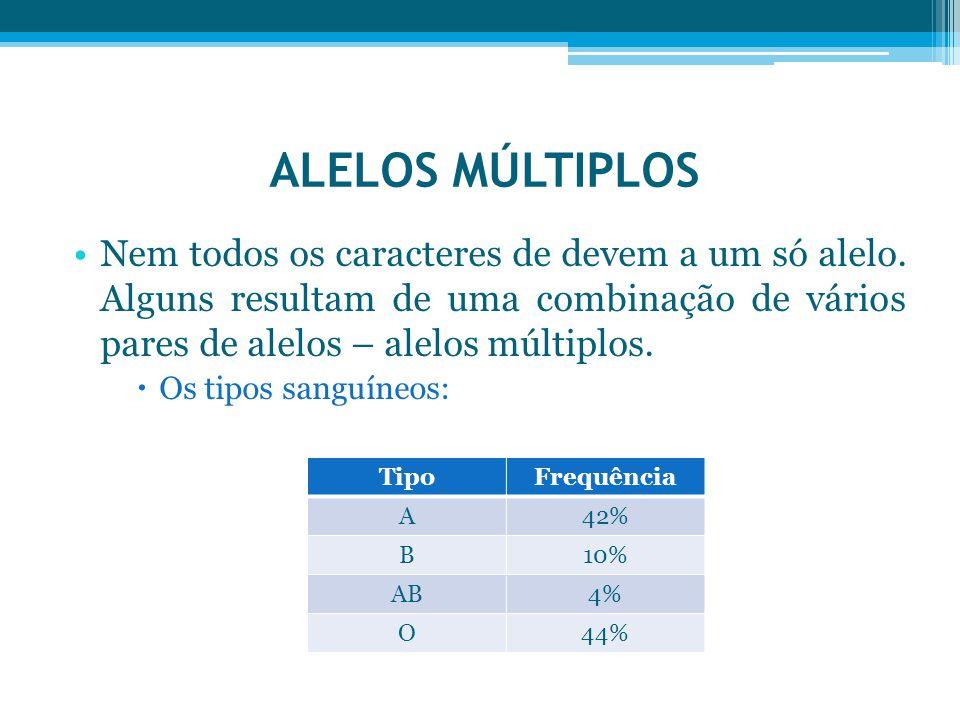 ALELOS MÚLTIPLOS Nem todos os caracteres de devem a um só alelo. Alguns resultam de uma combinação de vários pares de alelos – alelos múltiplos.  Os