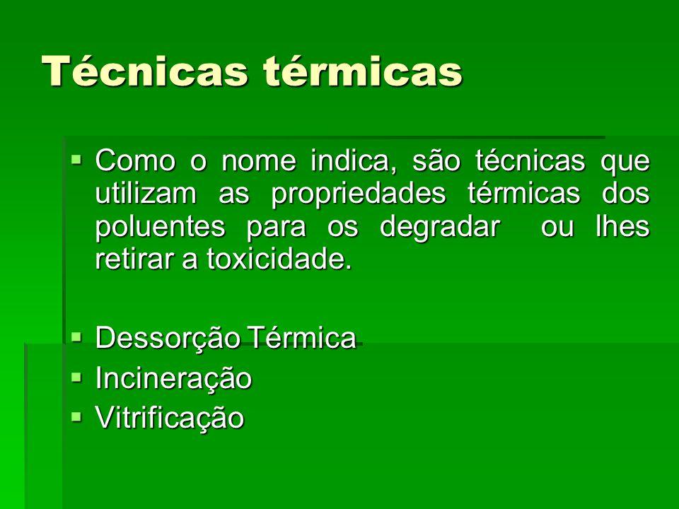 Técnicas térmicas  Como o nome indica, são técnicas que utilizam as propriedades térmicas dos poluentes para os degradar ou lhes retirar a toxicidade