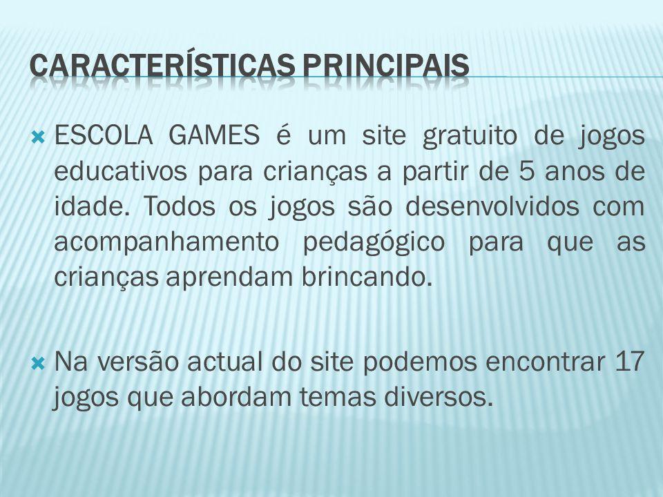  ESCOLA GAMES é um site gratuito de jogos educativos para crianças a partir de 5 anos de idade.