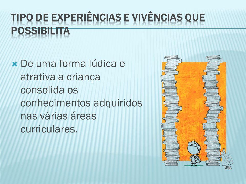  De uma forma lúdica e atrativa a criança consolida os conhecimentos adquiridos nas várias áreas curriculares.