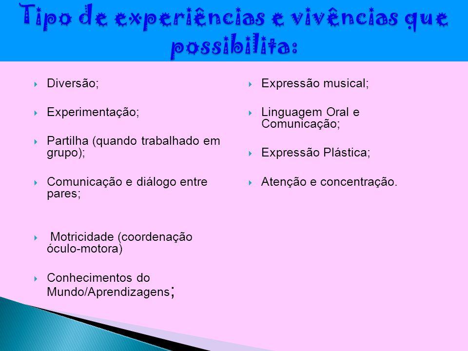  Diversão;  Experimentação;  Partilha (quando trabalhado em grupo);  Comunicação e diálogo entre pares;  Motricidade (coordenação óculo-motora) 